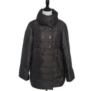 LOFT Dark Gray Double Breasted Quilted Down Coat